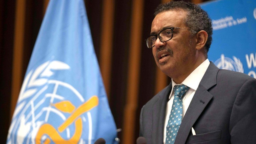 World Health Organization Director-General Tedros Adhanom Ghebreyesus delivers a speech during the opening of the World Health Assembly virtual meeting from the WHO headquarters in Geneva