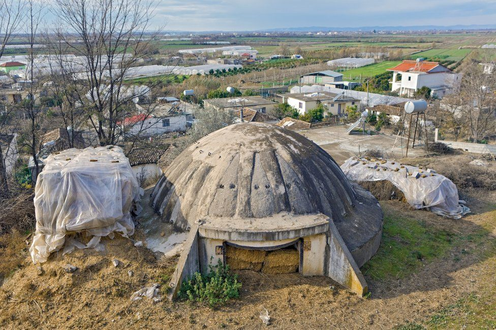 Bunker in Albania that is being used to house hay bales