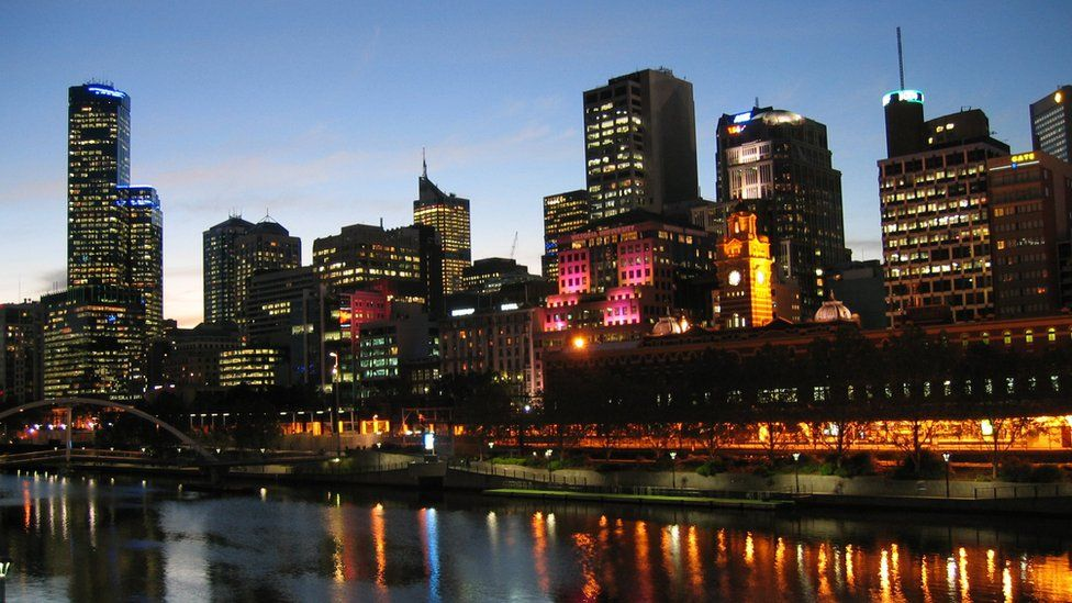 General night time view of the Melbourne cityscape skyline