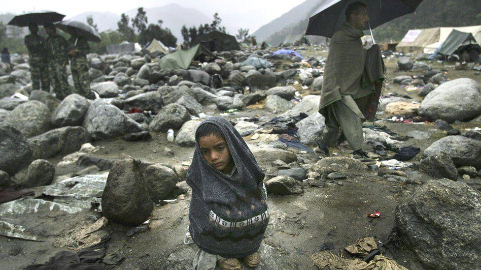 Earthquake survivor at a refugee camp in Balakot on 15 October 2005