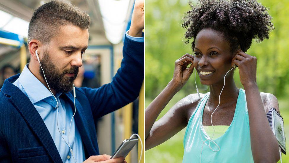 People wearing headphones