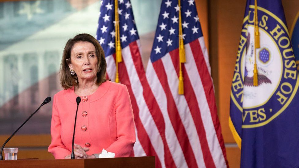 Speaker of the House Nancy Pelosi says Mr Barr committed a crime