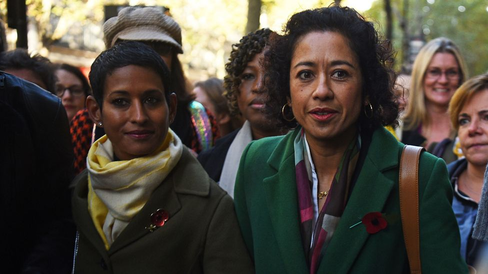 Samira Ahmed (r) and fellow BBC presenter Naga Munchetty arrive at the employment tribunal at Victory House, London on Monday morning.