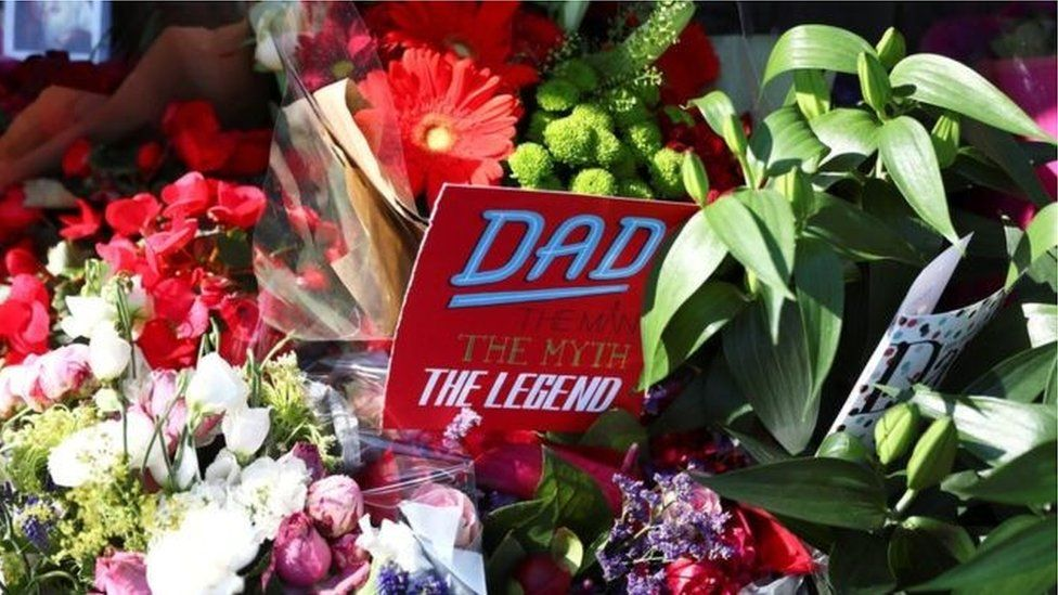 Floral tributes on Father's Day