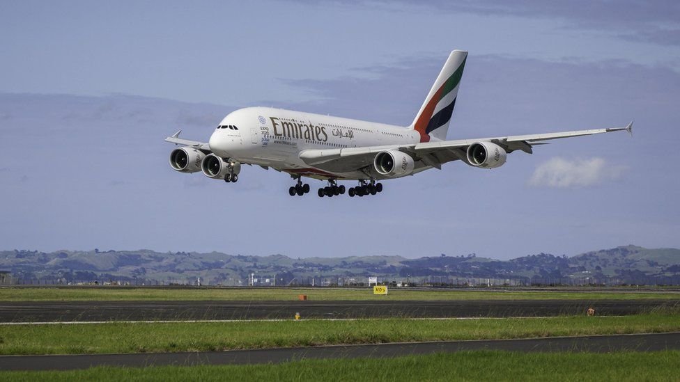Emirates Airbus A380 touches down in Auckland, New Zealand