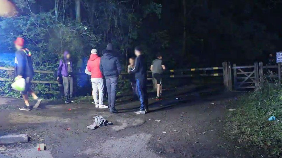 People gathered near rave location