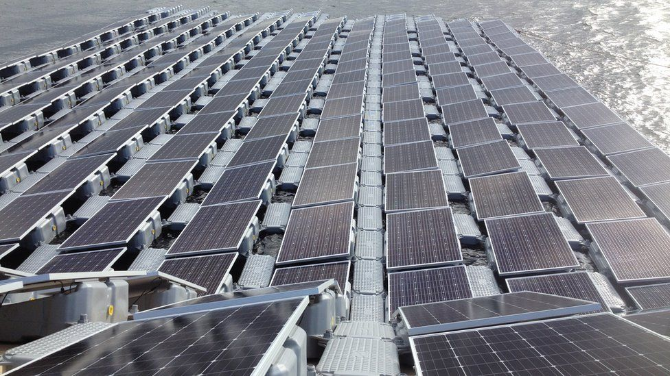 Floating solar panel farm under construction