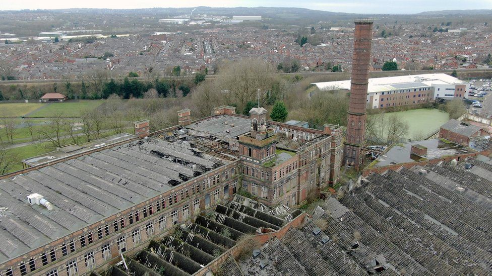 Aerial shot of disused Pagefield Mill, Wigan