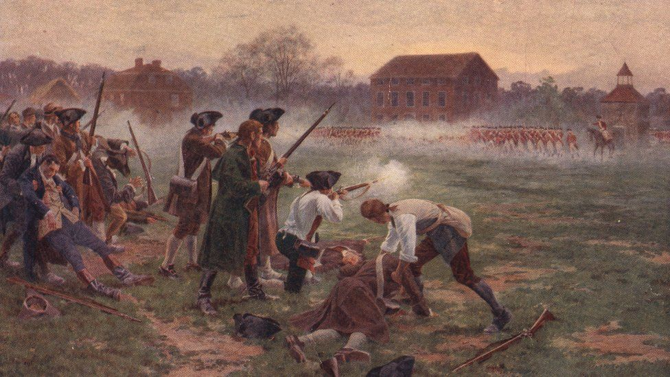 Painting depicting the Battle of Lexington and Concord, Massachusetts, in 1775