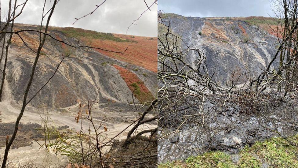 Side-by-side image of the landslide