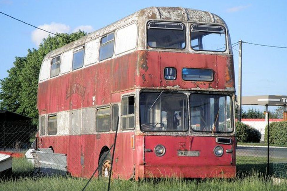 Bus by the road in France