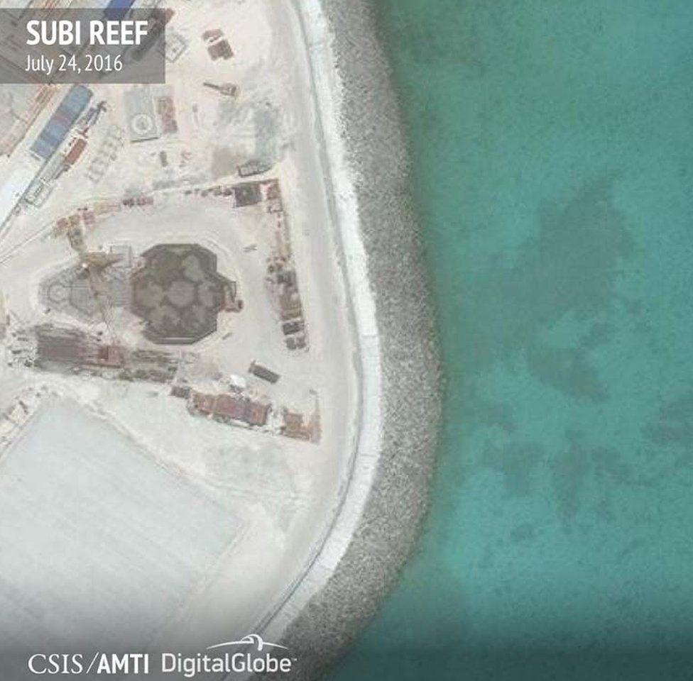 Hexagonal buildings on Subi Reef