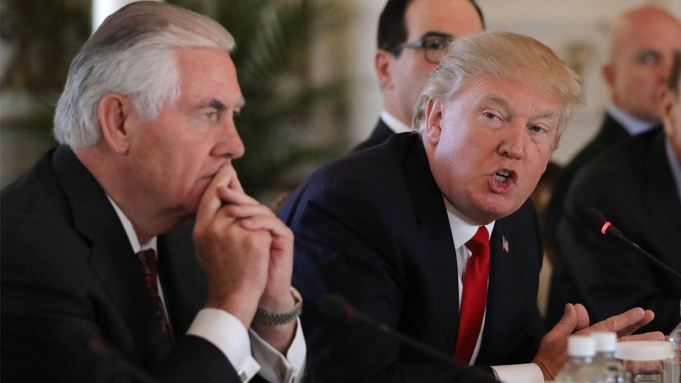 US President Donald Trump at a meeting with US Secretary of State Rex Tillerson at the Mar-a-Lago estate in Palm Beach, Florida, 7 April 2017