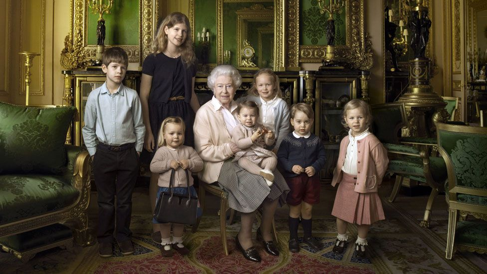 The Queen with her great-grandchildren and youngest grandchildren. From left: James, Viscount Severn; Lady Louise Windsor; Mia Tindall (holding the Queen's handbag); Princess Charlotte; Savannah Phillips; Prince George and Isla Phillips