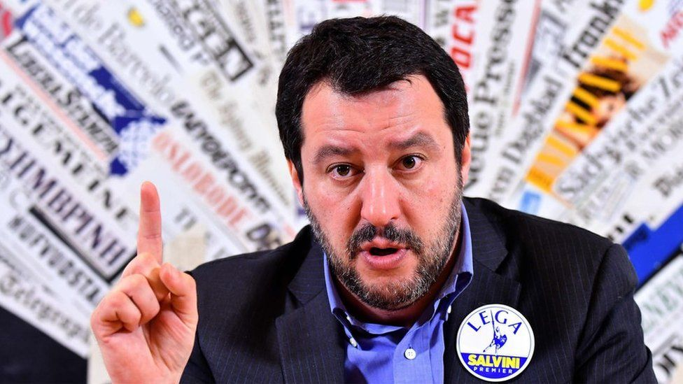 Lega Nord leader Matteo Salvini answers questions at an event