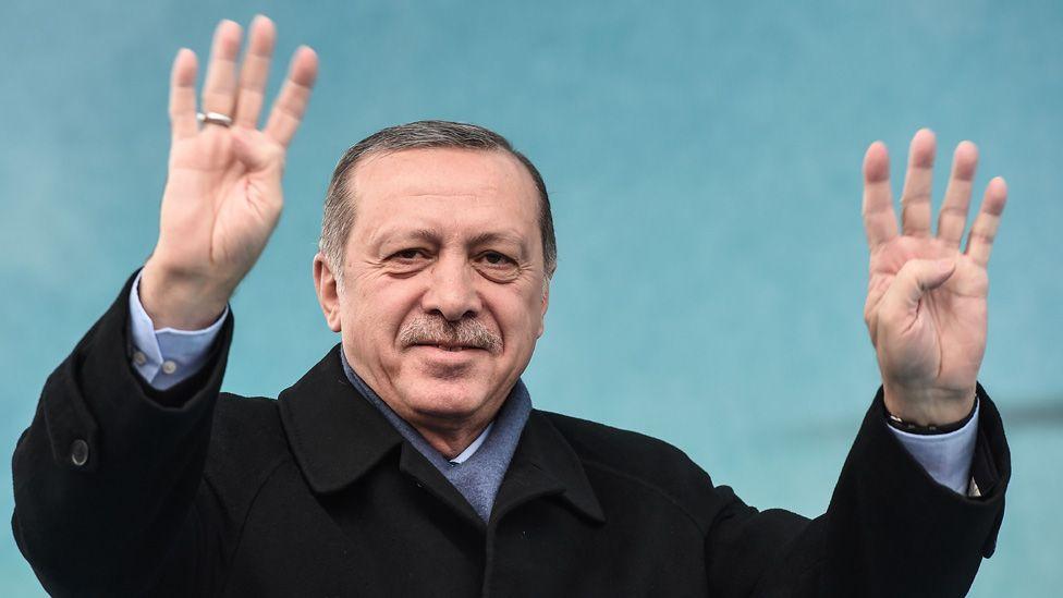 President Erdogan giving four-finger salute, 11 Mar 17