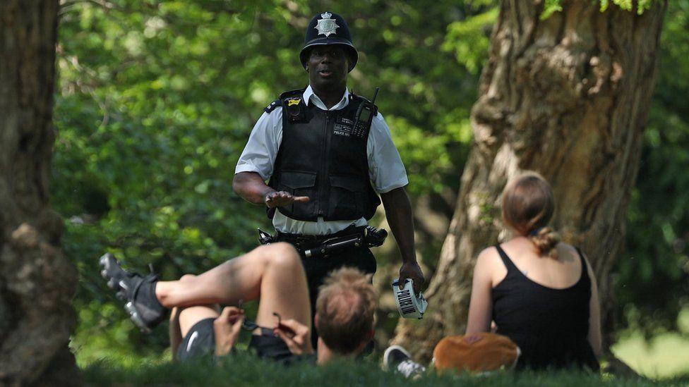 Police officer in London park