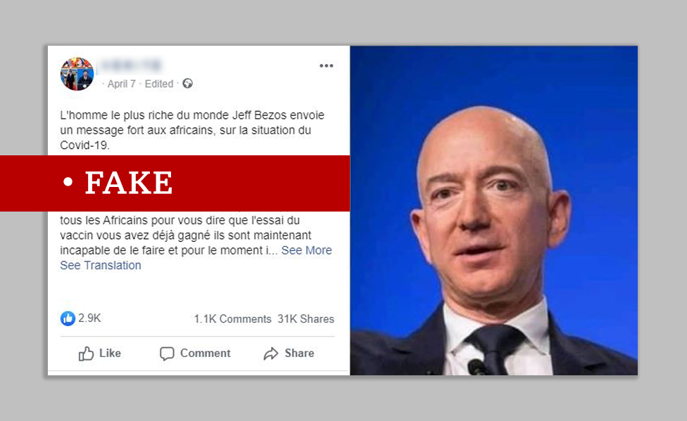 A fake Jeff Bezos quote on Facebook