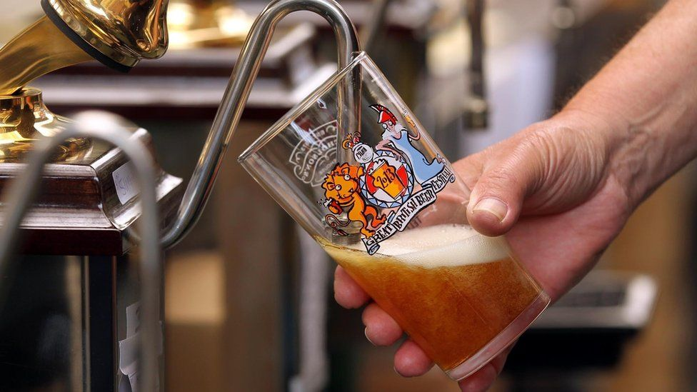 A beer pint is served