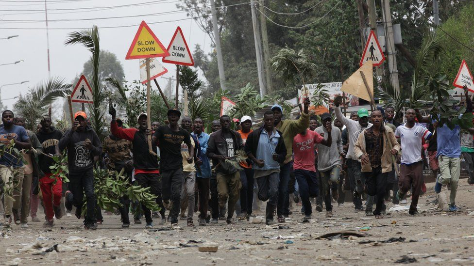 Opposition protesters carry branches and signs in Nairobi
