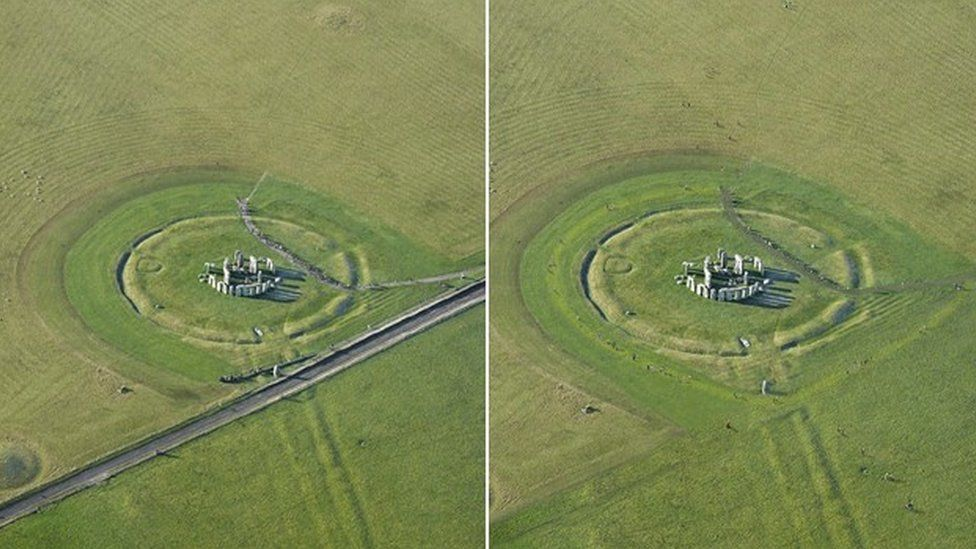 Stonehenge before and after the A344 is covered over