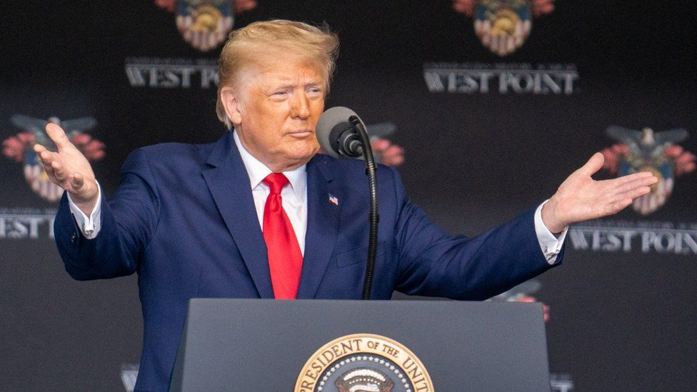 President Trump speaking at West Point in New York