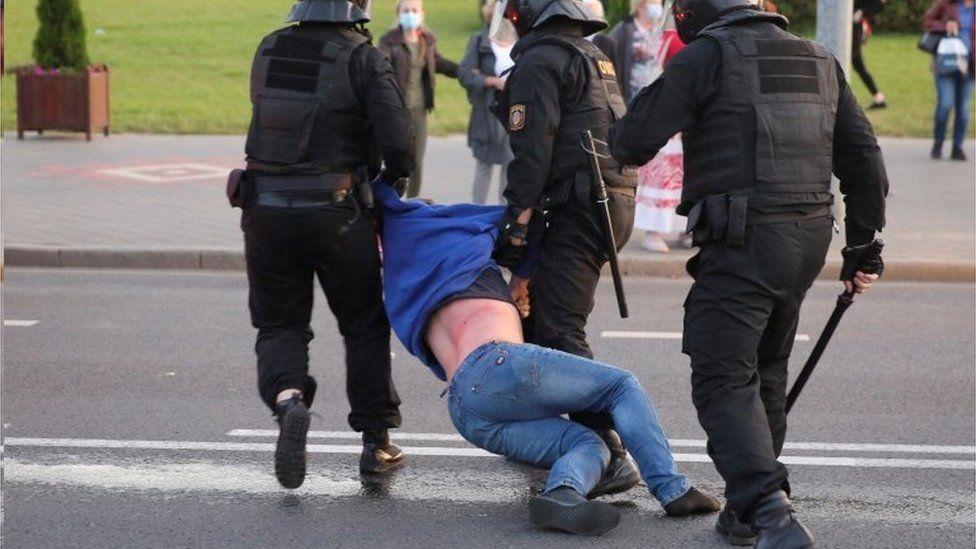 Riot police detain a demonstrator in Minsk, Belarus. Photo: 23 September 2020