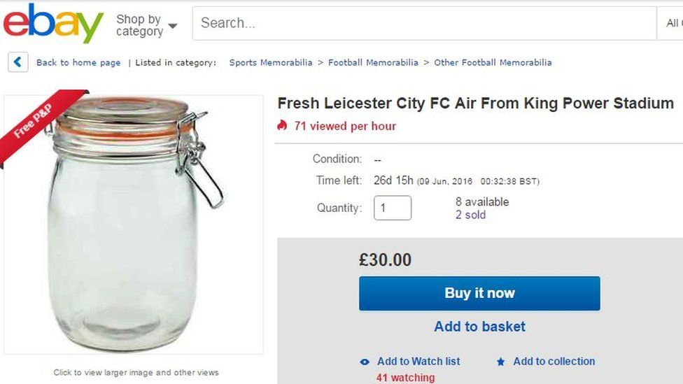 ajgaj1 selling Fresh Leicester City FC air from King Power Stadium