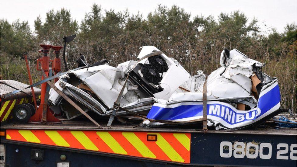 Wreckage of minibus