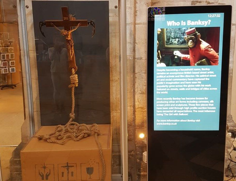 Banksy 'Grappling Hook' goes on show at Ely Cathedral