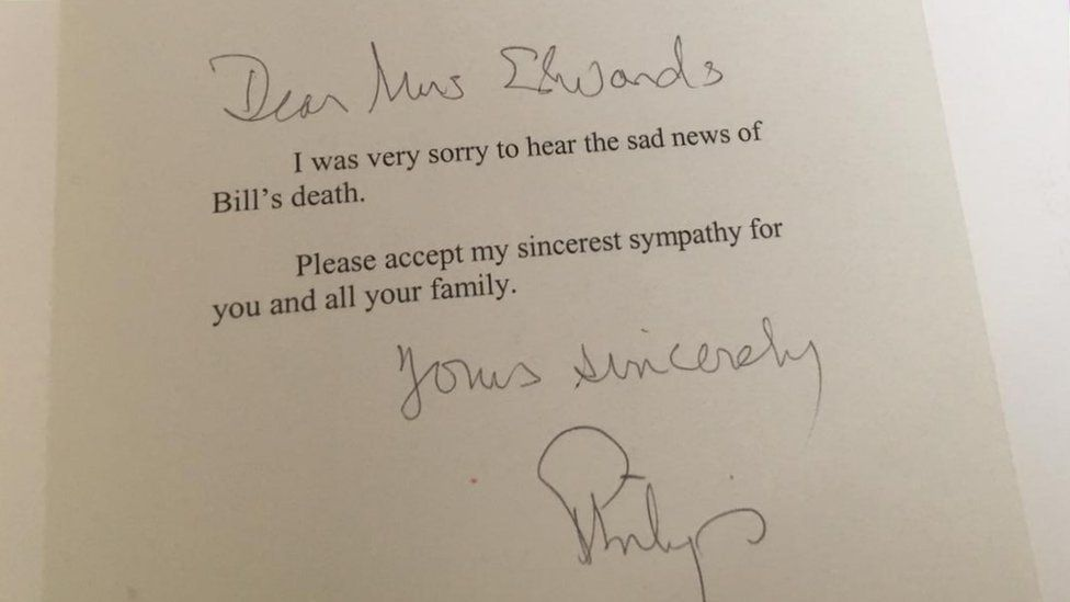 A letter from the duke wrote to Mrs Edwards after her husband died