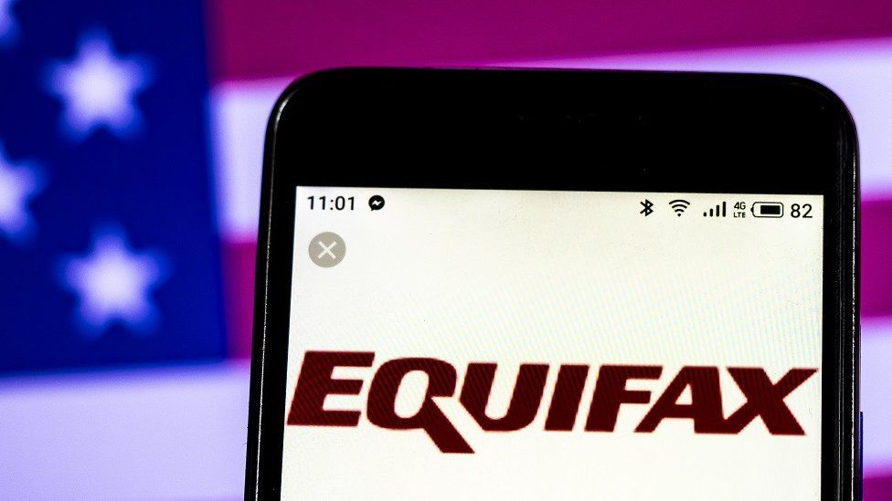 Equifax logo on mobile phone