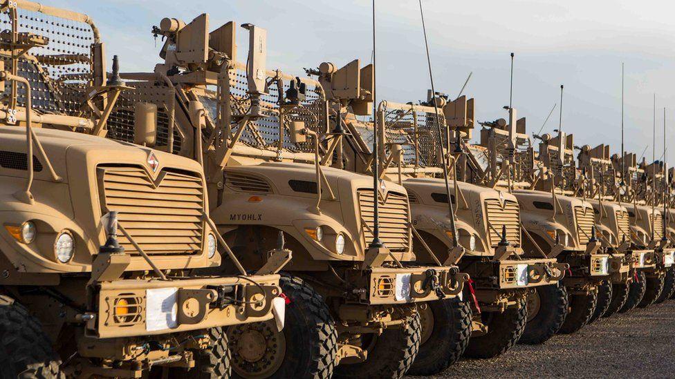 US MRAP vehicles in Afghanistan