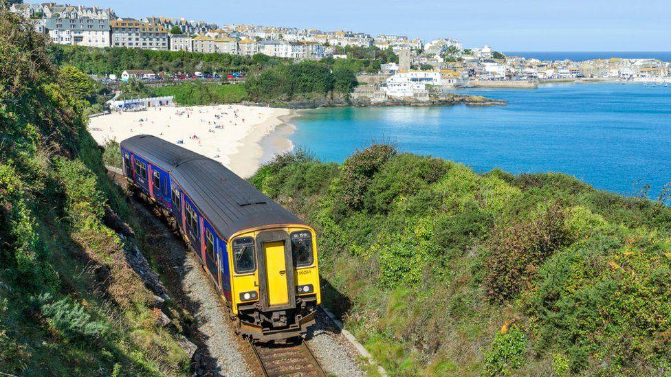 Coastal rail line in Cornwall