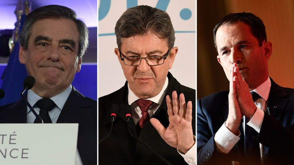 From L-R: Francois Fillon, the Republican candidate; Jean-Luc Mélenchon, the far-left firebrand; and Benoit Hamon, the Socialist Party candidate.
