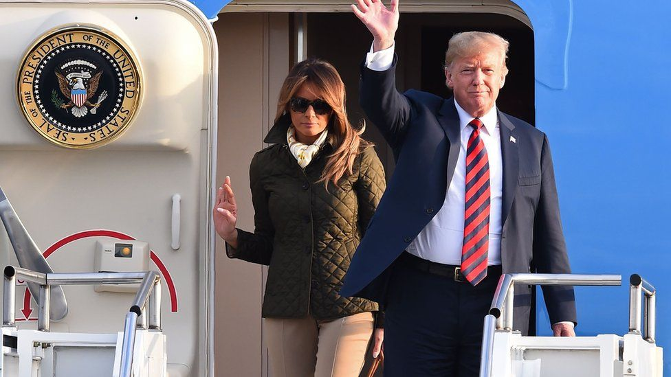 Donald and Melania Trump arriving at Prestwick