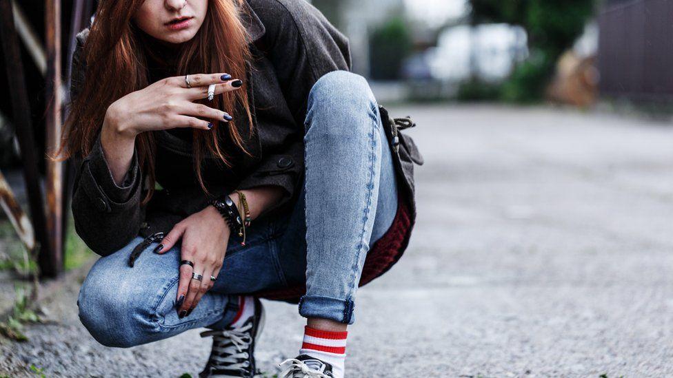 Young woman smoking