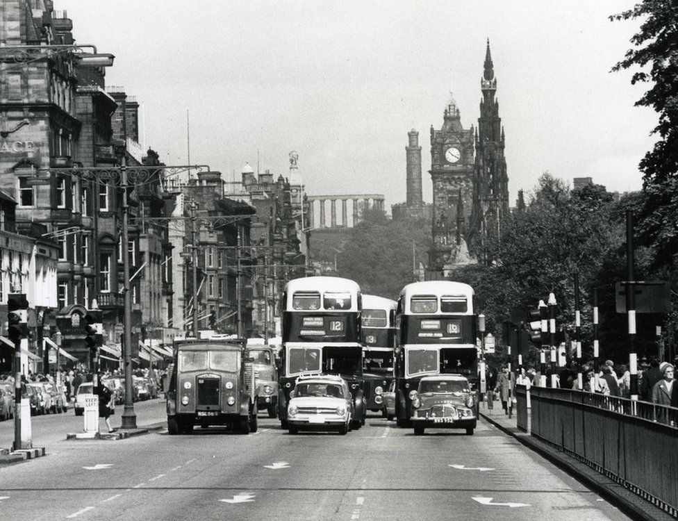 Cars and buses on Princes Street, 1964.