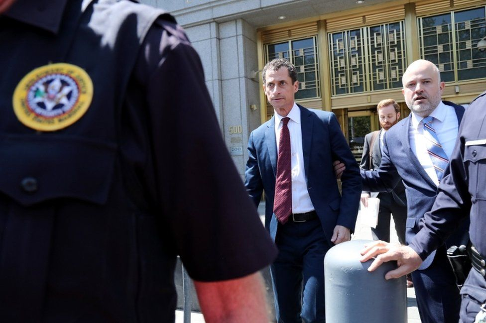 Weiner leaving court after the plea deal was reached