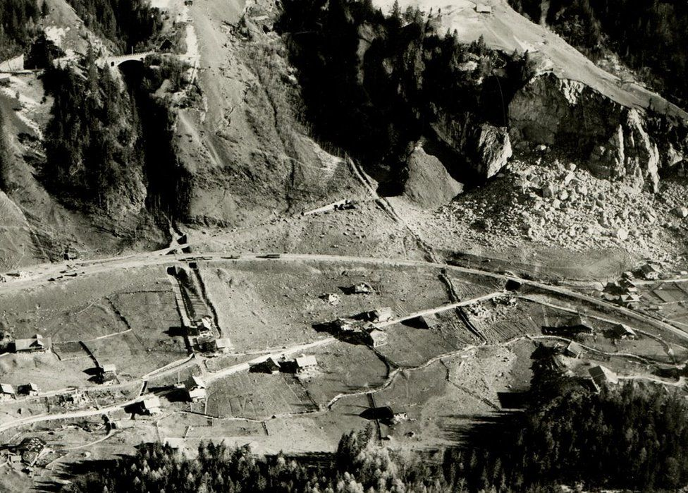 Aerial view of Mitholz after the blast