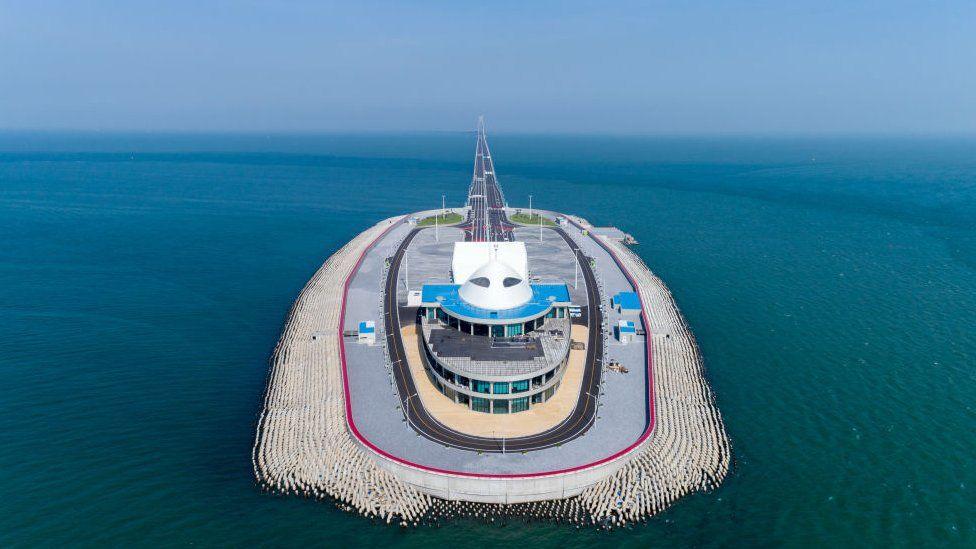 Aerial view of Hong Kong-Zhuhai-Macau Bridge West Artificial Island