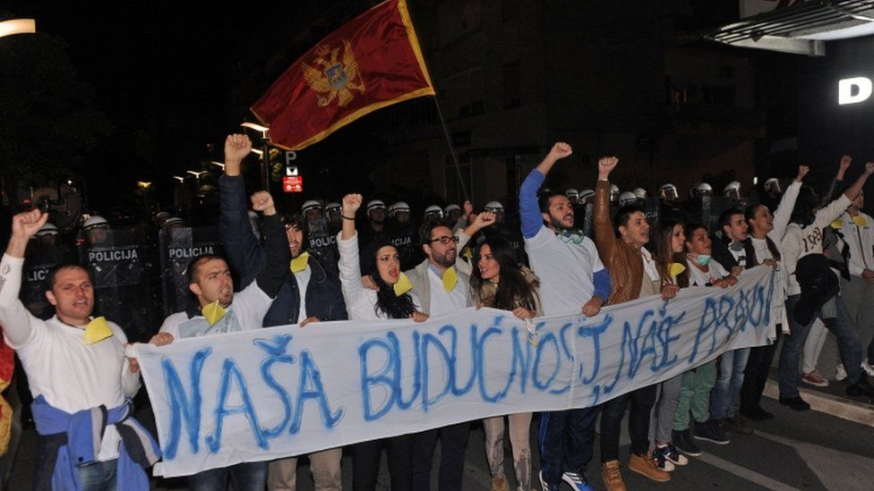Anti-government protesters, Podgorica, 24 October 2015