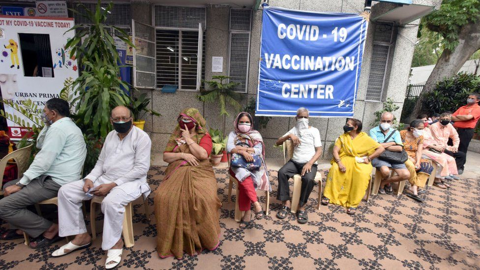 People in the age group of 45 above waiting to get a Covid vaccine at on May 10, 2021 in New Delhi, India.