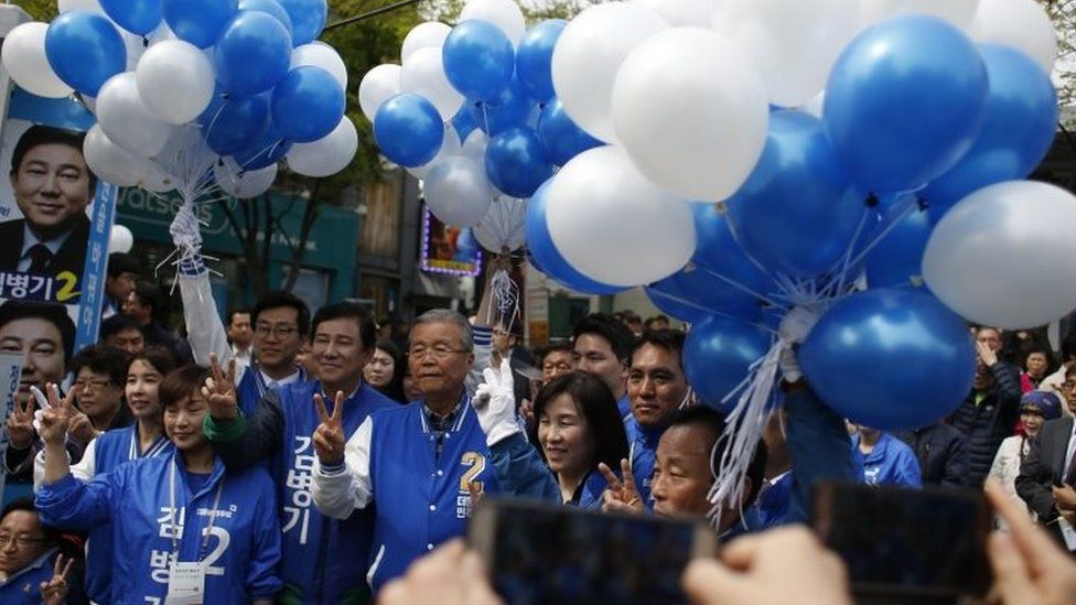 A rally of the main opposition party Minju Party in Seoul (12 April 2016)