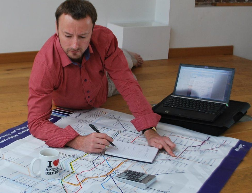 Marc Gawley plans his route on the tube