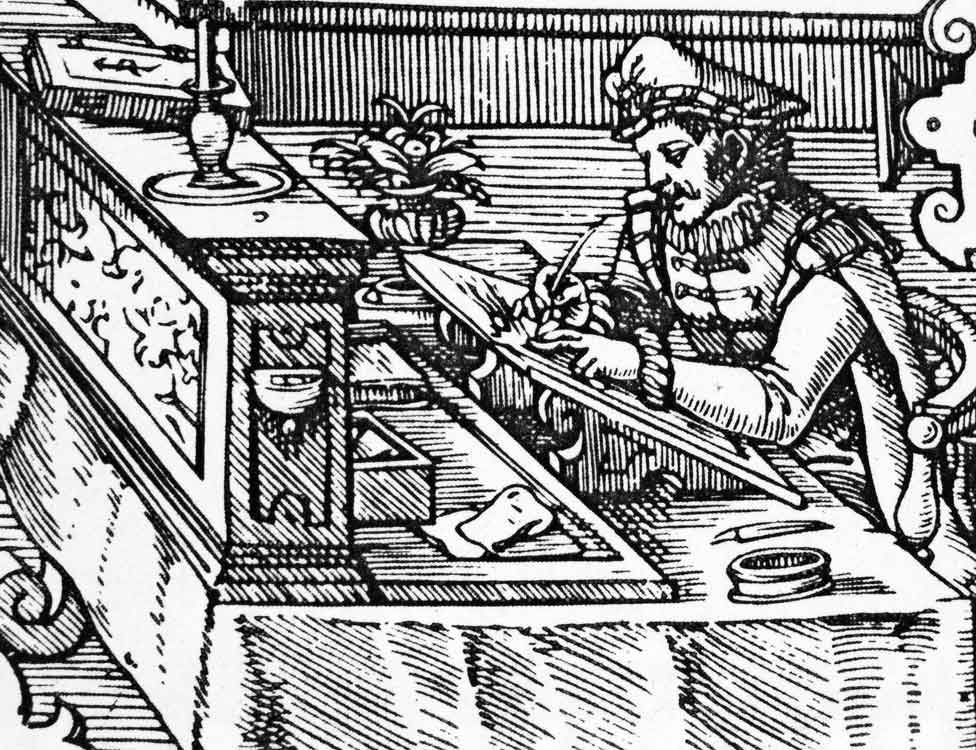 A 1585 woodcut showing a German merchant's bookkeeper doing double-entry bookkeeping