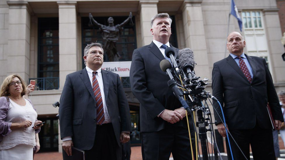 Kevin Downing (C), with Richard Westling (L) and Thomas Zehnle (R), attorneys representing former Trump campaign chairman Paul Manafort