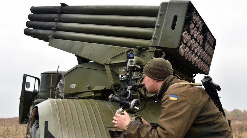 Ukrainian soldier aiming Grad rocket system on exercises, 28 Oct 16