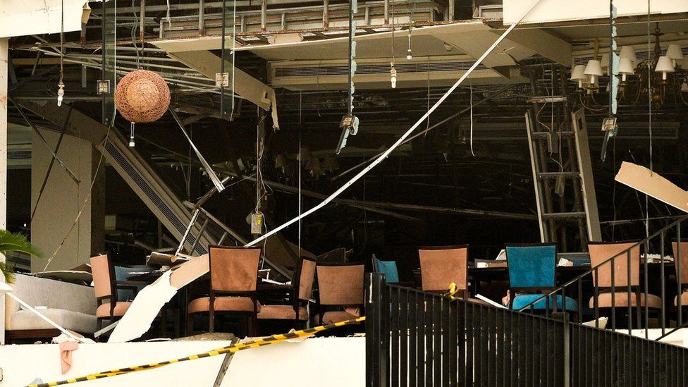 Damage at the Kingsbury Hotel in Colombo