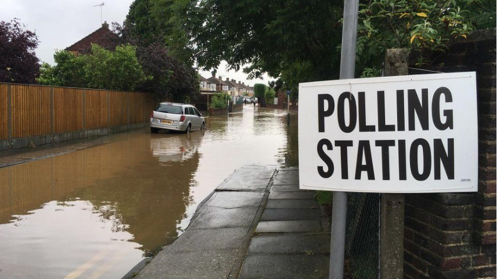 Flooding near polling station in Collier Row, London